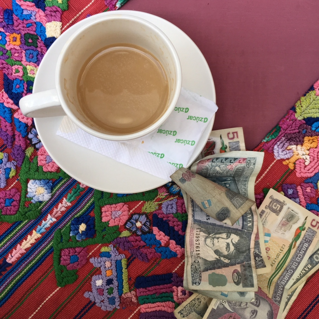 A well deserved cafe con leche after a textile romp in the largest market in Central America! Chichicanstenango!