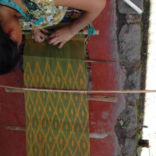 Beautiful backstrap weaver and loom
